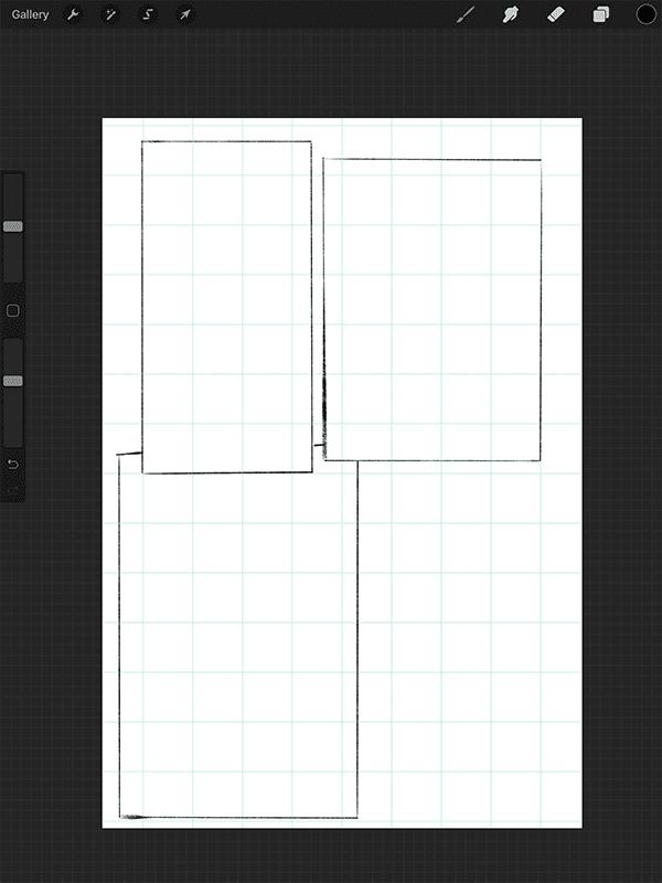 Sketched panels.